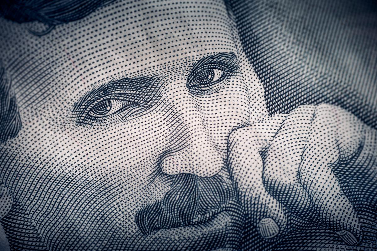 Portrait of Nikola Tesla. Obverse of Serbian dinar banknote - slon.pics - free stock photos and illustrations