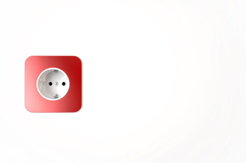 Red power socket with copyspace - slon.pics - free stock photos and illustrations