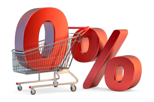 Shopping cart with 0% sign. 3D illustration. Isolated. Contains clipping path - slon.pics - free stock photos and illustrations