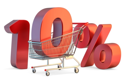 Shopping cart with 10% discount sign. 3D illustration. Isolated. Contains clipping path - slon.pics - free stock photos and illustrations