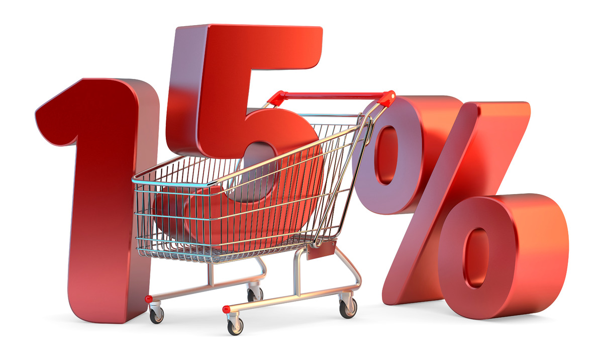Shopping cart with 15% discount sign. 3D illustration. Isolated. Contains clipping path - slon.pics - free stock photos and illustrations