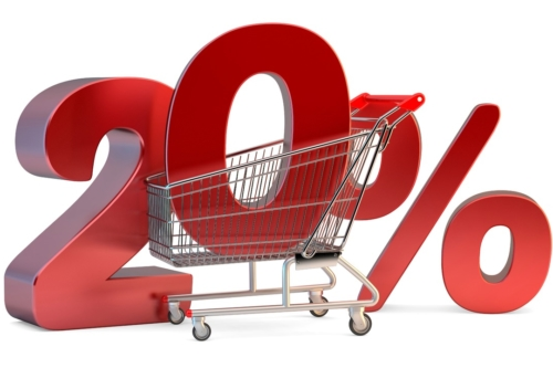 Shopping cart with 20% discount sign. 3D illustration. Isolated. Contains clipping path - slon.pics - free stock photos and illustrations