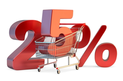 Shopping cart with 25% discount sign. 3D illustration. Isolated. Contains clipping path - slon.pics - free stock photos and illustrations