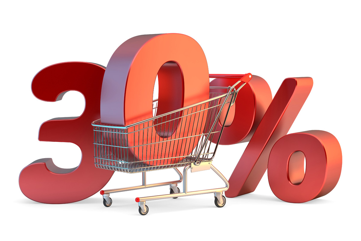 Shopping cart with 30% discount sign. 3D illustration. Isolated. Contains clipping path - slon.pics - free stock photos and illustrations
