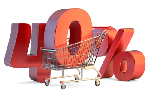 Shopping cart with 40% discount sign. 3D illustration. Isolated. Contains clipping path - slon.pics - free stock photos and illustrations
