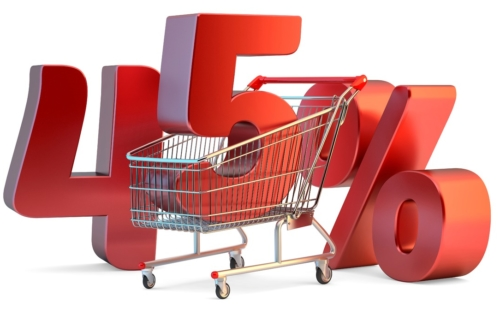 Shopping cart with 45% discount sign. 3D illustration. Isolated. Contains clipping path - slon.pics - free stock photos and illustrations