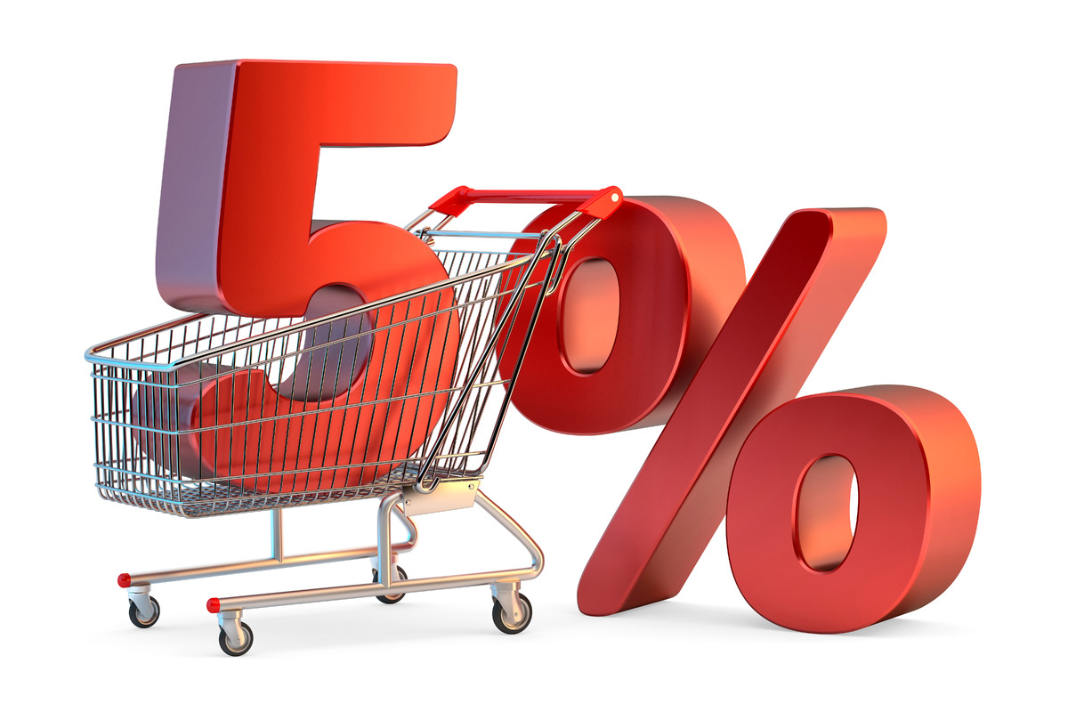 Shopping cart with 5% discount sign. 3D illustration. Isolated. Contains clipping path - slon.pics - free stock photos and illustrations