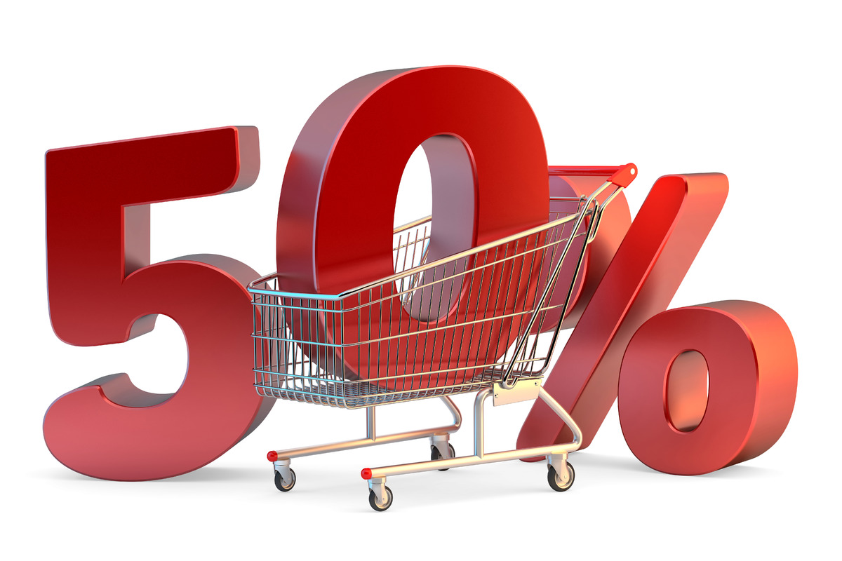 Shopping cart with 50% discount sign. 3D illustration. Isolated. Contains clipping path - slon.pics - free stock photos and illustrations