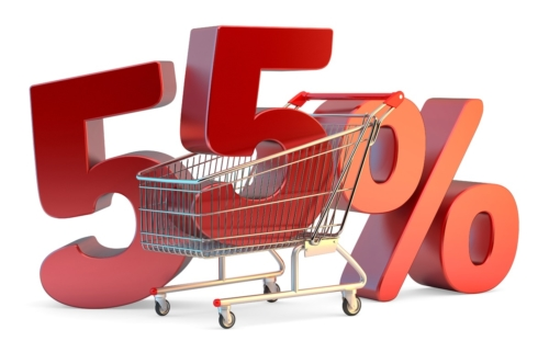 Shopping cart with 55% discount sign. 3D illustration. Isolated. Contains clipping path - slon.pics - free stock photos and illustrations