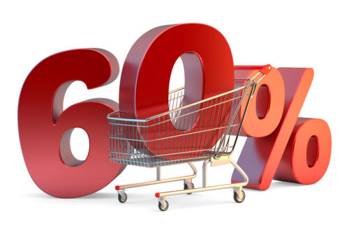 Shopping cart with 60% discount sign. 3D illustration. Isolated. Contains clipping path - slon.pics - free stock photos and illustrations