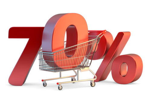 Shopping cart with 70% discount sign. 3D illustration. Isolated. Contains clipping path - slon.pics - free stock photos and illustrations