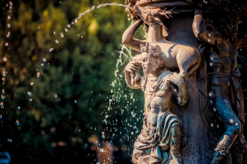 Singing fountain in Royal Garden (Kralovska zahrada) of Prague Castle. Prague, Czech Republic - slon.pics - free stock photos and illustrations