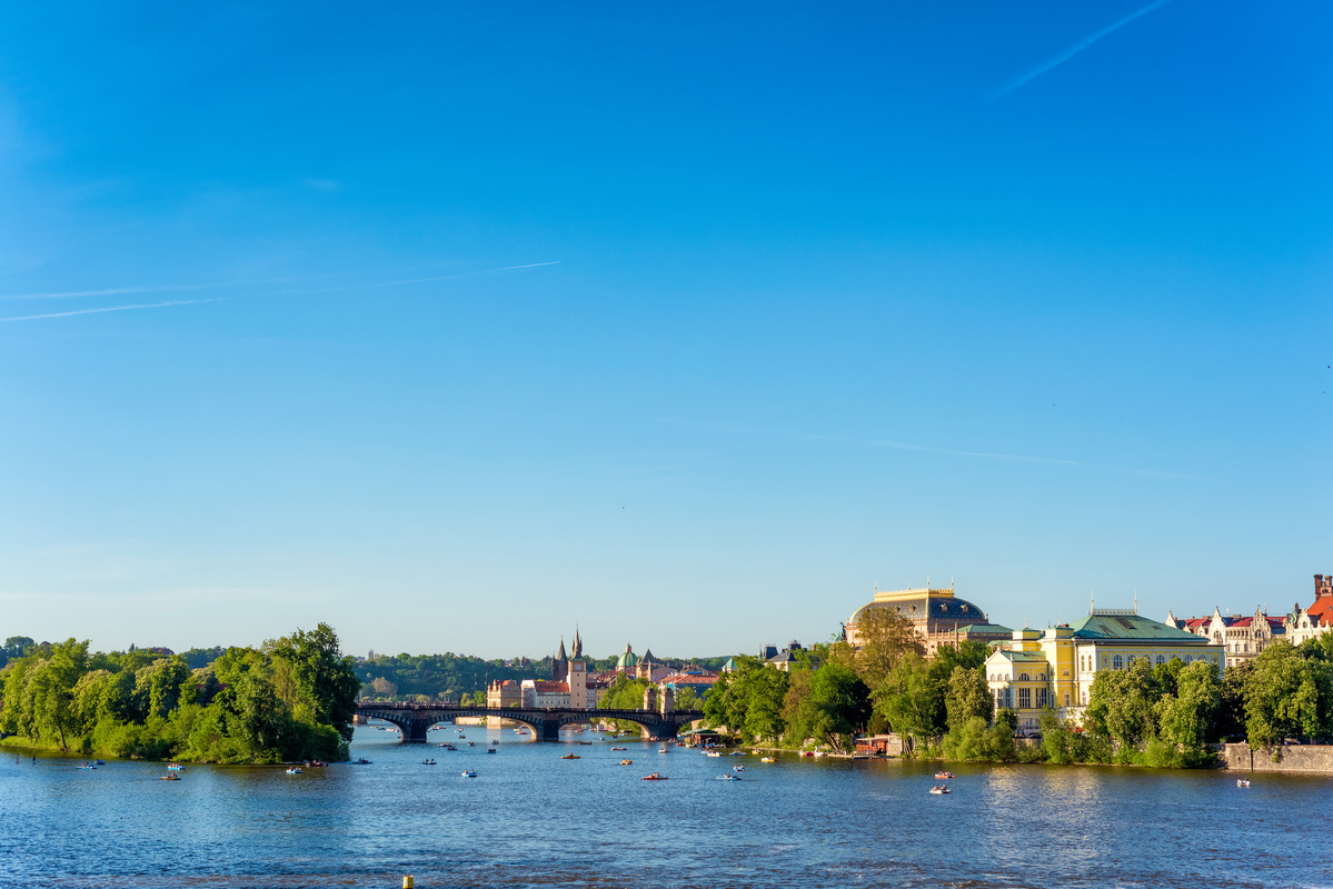 View of Charles Bridge and Prague cityscape. Czech Republic - slon.pics - free stock photos and illustrations