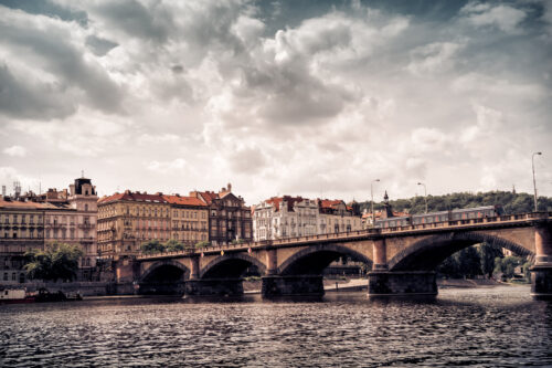 View of Palacky bridge at sunset. Prague, Czech Republic - slon.pics - free stock photos and illustrations