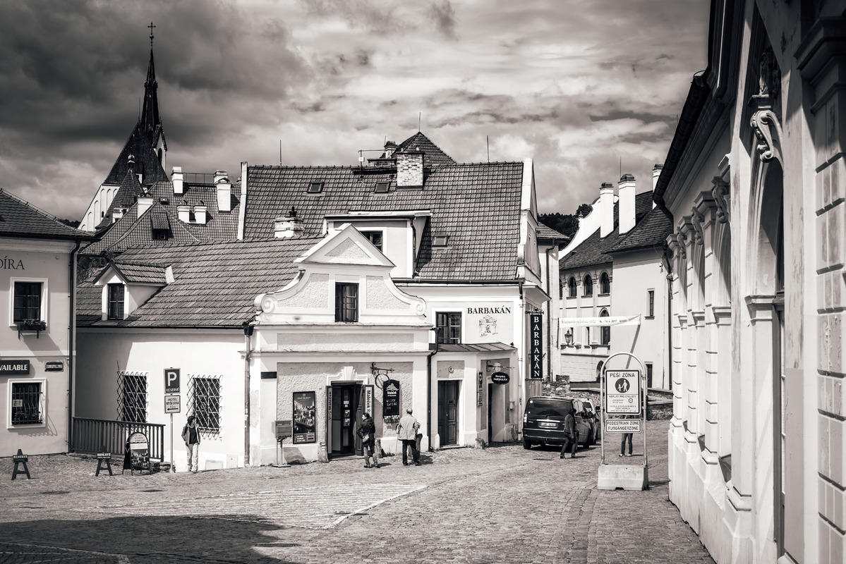 View of Rooseveltova street in Cesky Krumlov. Czech Republic - slon.pics - free stock photos and illustrations