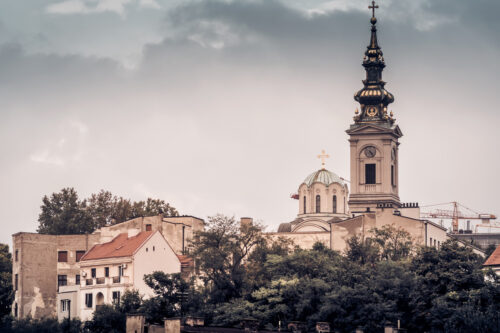 View of Stari Grad and St. Michael's Cathedral. Belgrade, Serbia - slon.pics - free stock photos and illustrations