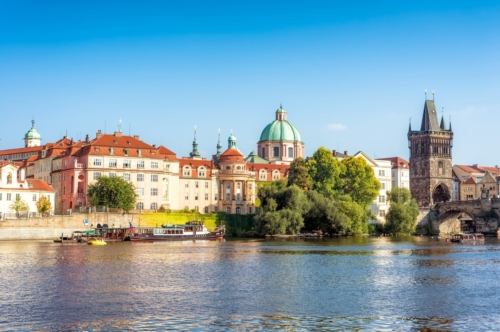Vltava, Charles Bridge, Old Town Bridge Tower and Ales Embankment. Prague, Czech Republic - slon.pics - free stock photos and illustrations
