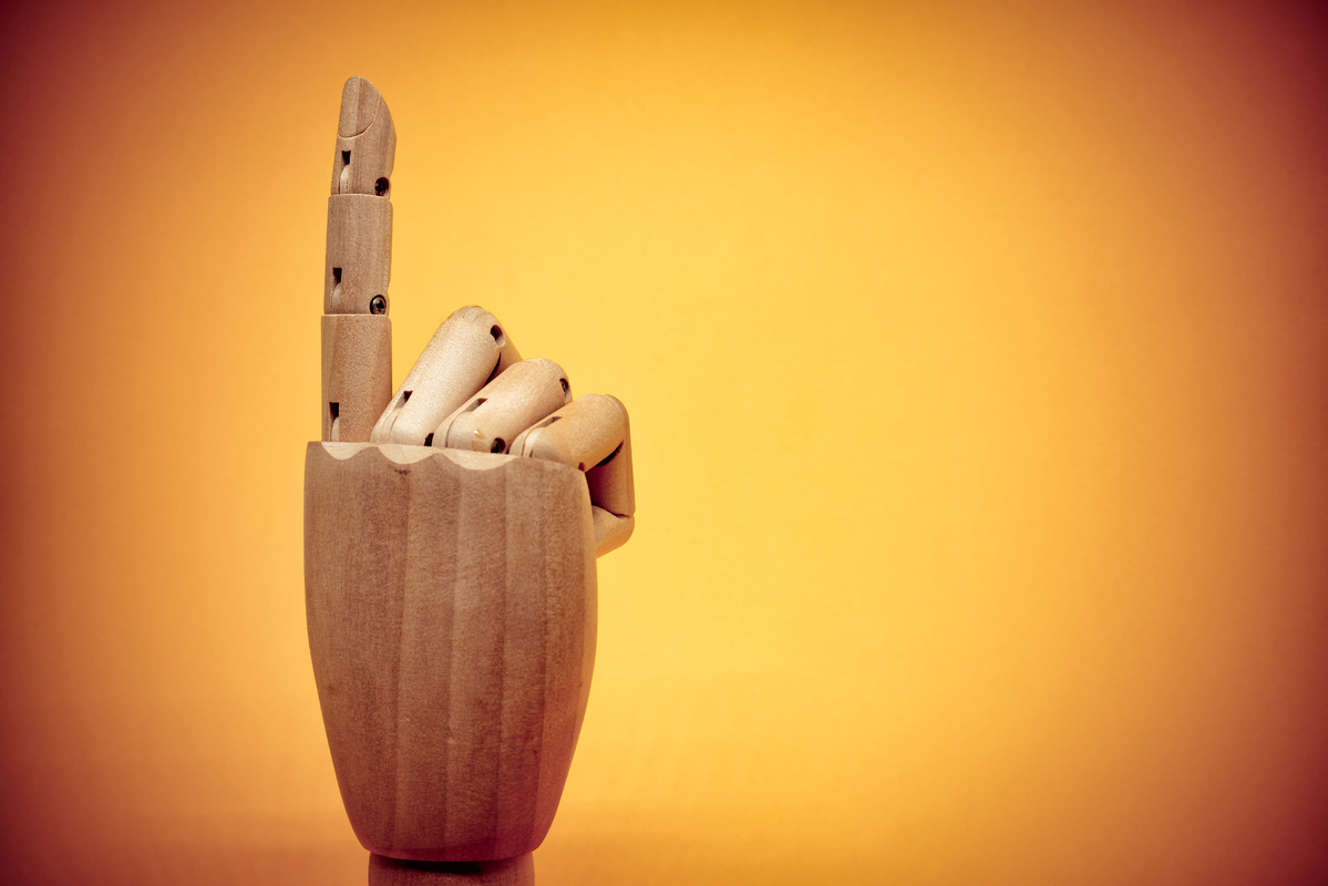Wooden hand pointing up - slon.pics - free stock photos and illustrations
