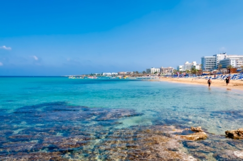 Coastline of Ayia Napa with beach and hotels. Famagusta District. Cyprus - slon.pics - free stock photos and illustrations