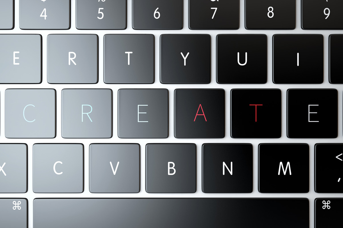 Creative. Text sign over laptop keyboard - slon.pics - free stock photos and illustrations