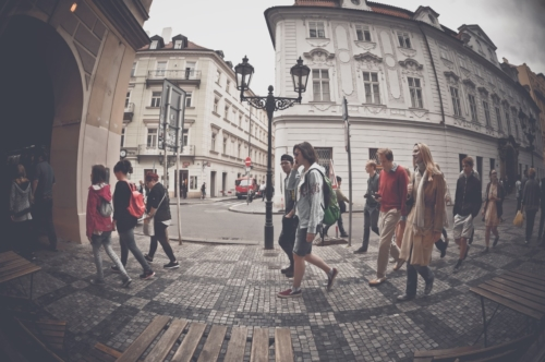 Crowd of people walking on busy street of Prague. Czech Republic. May 25, 2017 - slon.pics - free stock photos and illustrations