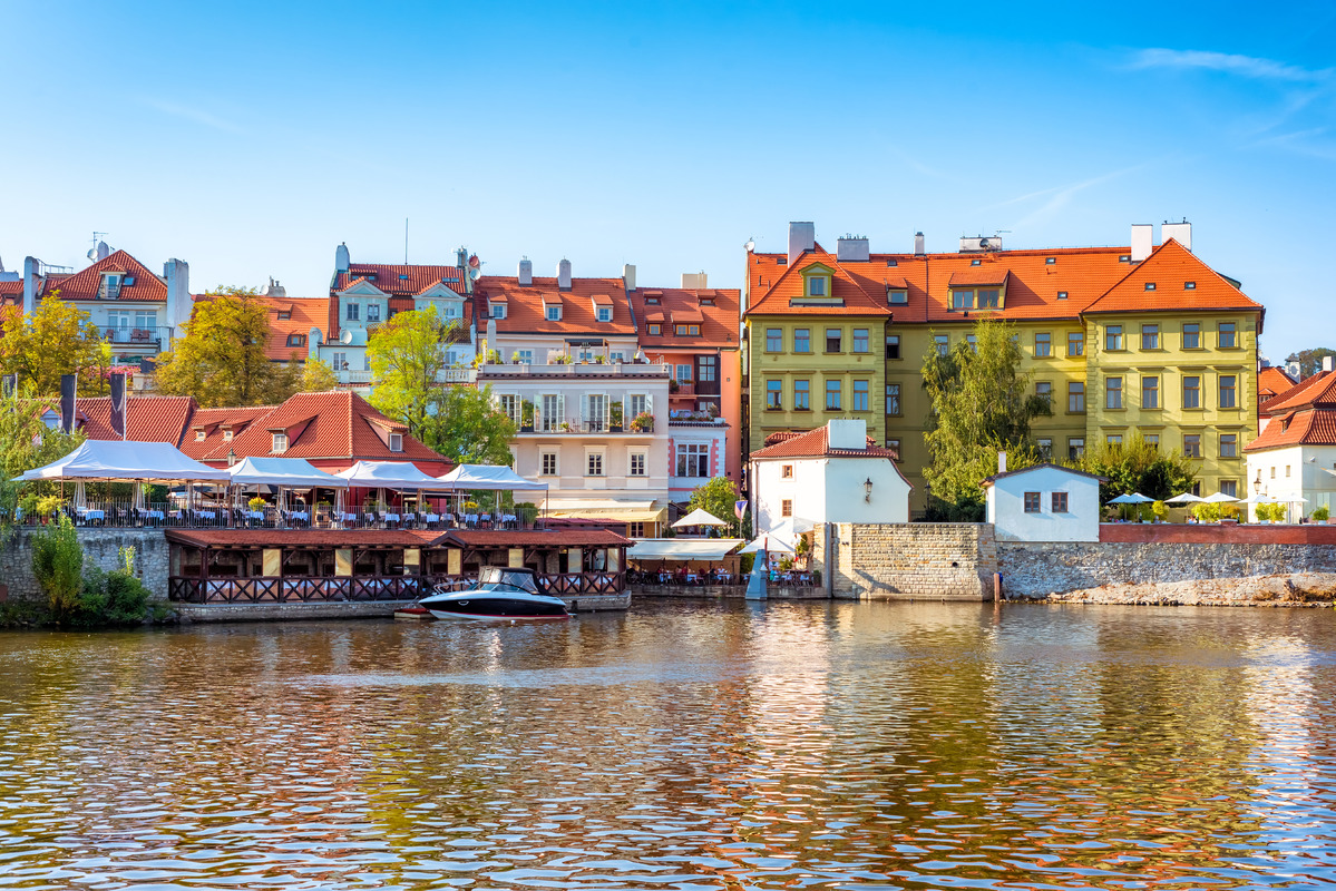 Houses and restaurants on the right bank of Vltava river. Czech Republic - slon.pics - free stock photos and illustrations