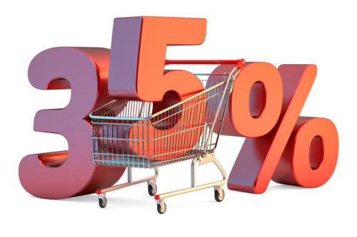 Shopping cart with 35% discount sign. 3D illustration. Isolated. Contains clipping path - slon.pics - free stock photos and illustrations