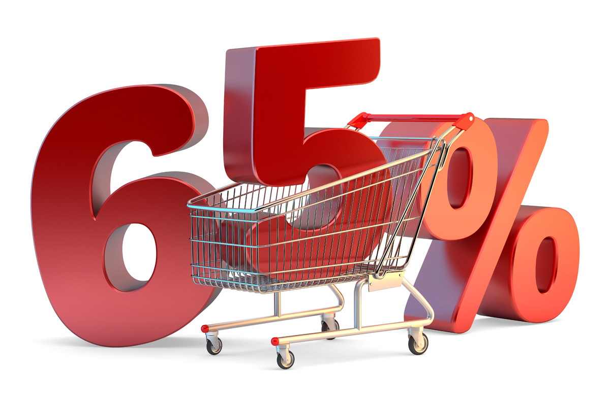 Shopping cart with 65% discount sign. 3D illustration. Isolated. Contains clipping path - slon.pics - free stock photos and illustrations