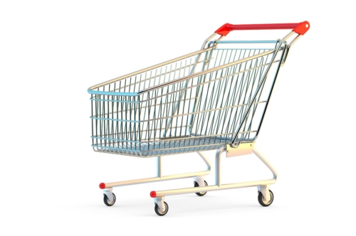 Shopping cart. 3D illustration. Isolated. Contains clipping path - slon.pics - free stock photos and illustrations