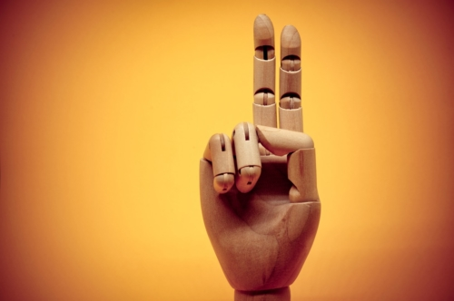 Wooden hand pointing up 2 fingers - slon.pics - free stock photos and illustrations