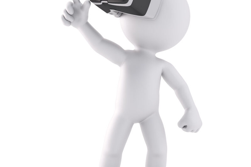 3D man with VR glasses pointing at invisible object. 3D illustration. Isolated. Contains clipping path - slon.pics - free stock photos and illustrations