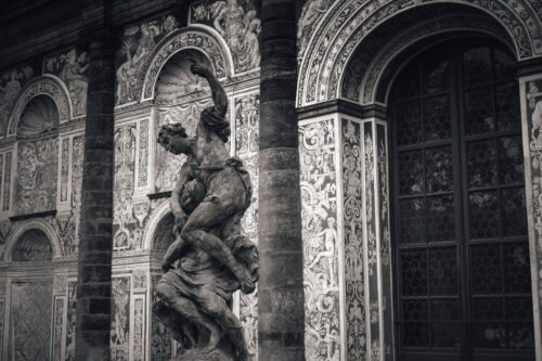 Alegory of night – baroque sculpture at in front of Real tennis room. Royal Garden of Prague Castle, Czech Republic - slon.pics - free stock photos and illustrations