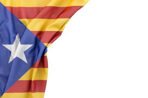Flag of Catalonia in the corner on white background. Isolated, contains clipping path - slon.pics - free stock photos and illustrations