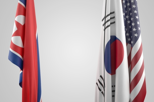 Flags of USA, South and North Korea. Political confrontation concept - slon.pics - free stock photos and illustrations