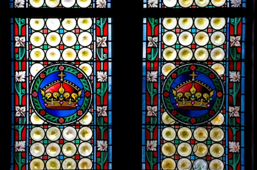 Fragment of stained glass window in Powder Tower.Prague, Czech Republic - slon.pics - free stock photos and illustrations