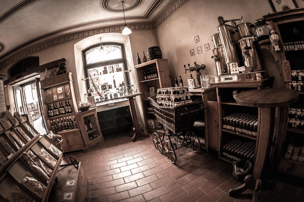 Interior of a traditional souvenir shop at Cesky Krumlov. Czech Republic - slon.pics - free stock photos and illustrations