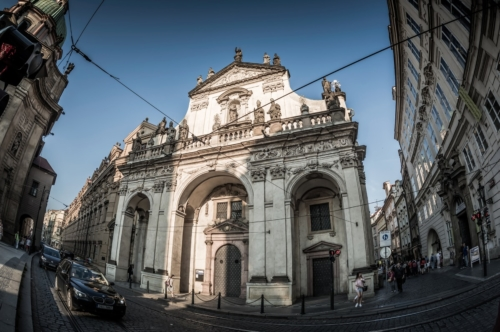 Krizovnicka street and Church of St. Salvator. Prague, Czech Republic. May 26, 2017 - slon.pics - free stock photos and illustrations