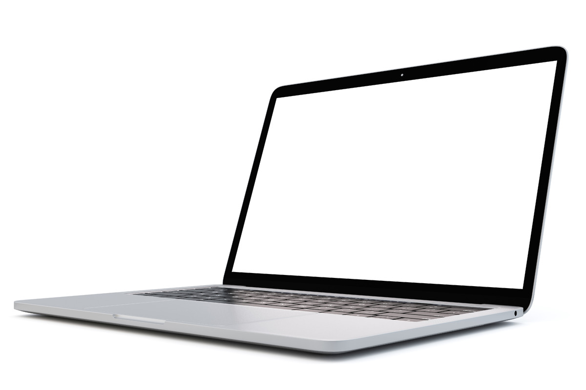 Laptop with blank screen on white background. Side view. 3D illustration. Isolated. Contains clipping path - slon.pics - free stock photos and illustrations