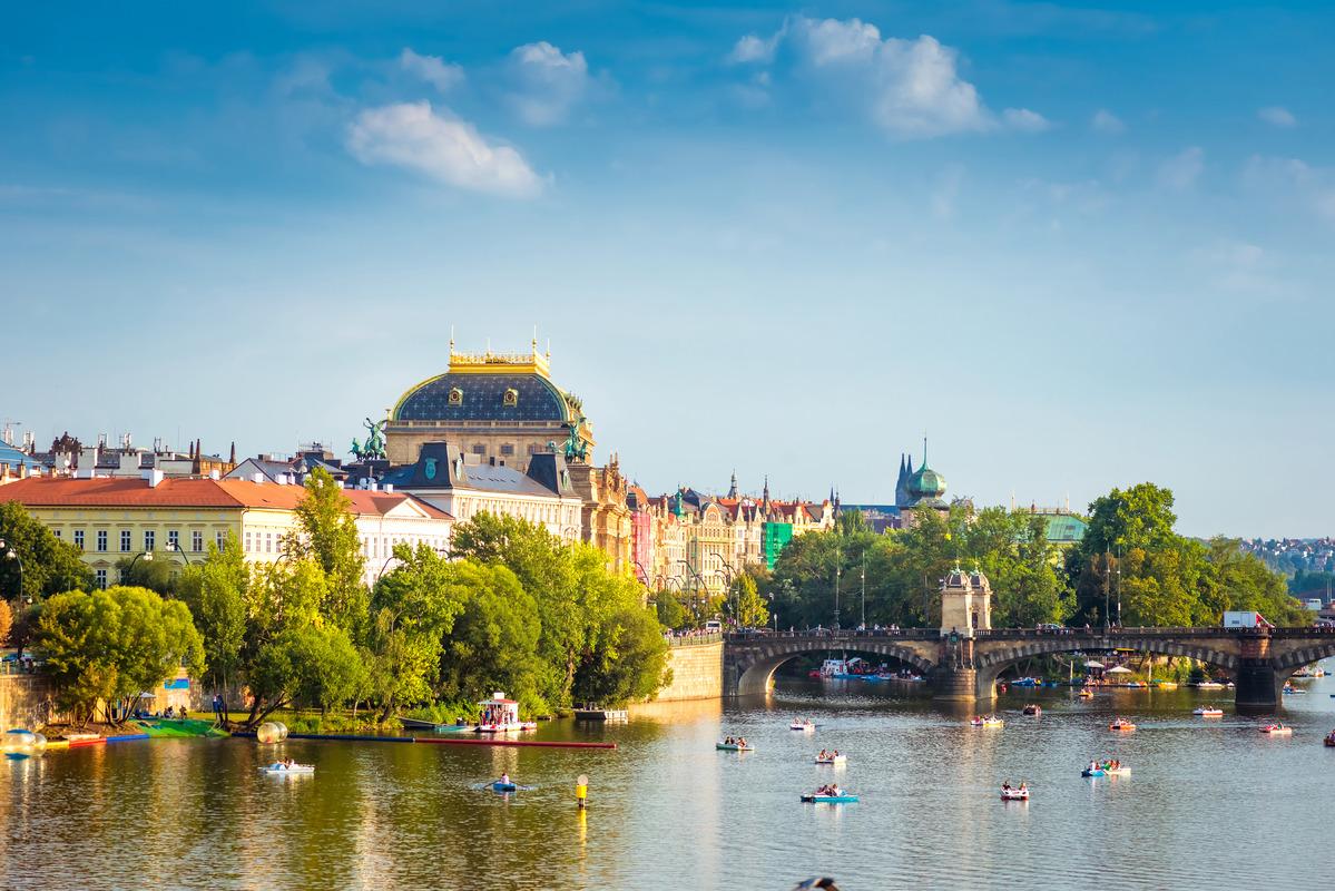 Prague National Theatre along the river Vltava. Prague, Czech Republic - slon.pics - free stock photos and illustrations