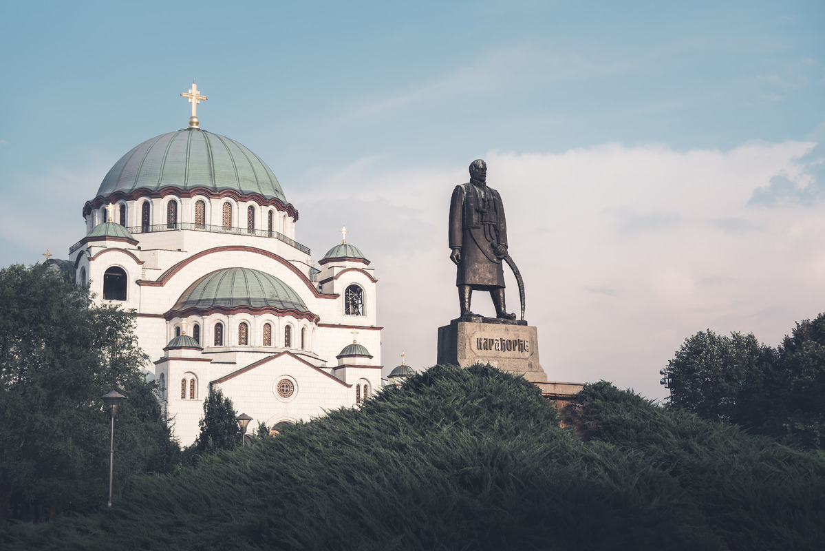 Saint Sava Cathedral (Hram Svetog Save) and Monument of Karageorge Petrovitch. Belgrade, Serbia - slon.pics - free stock photos and illustrations