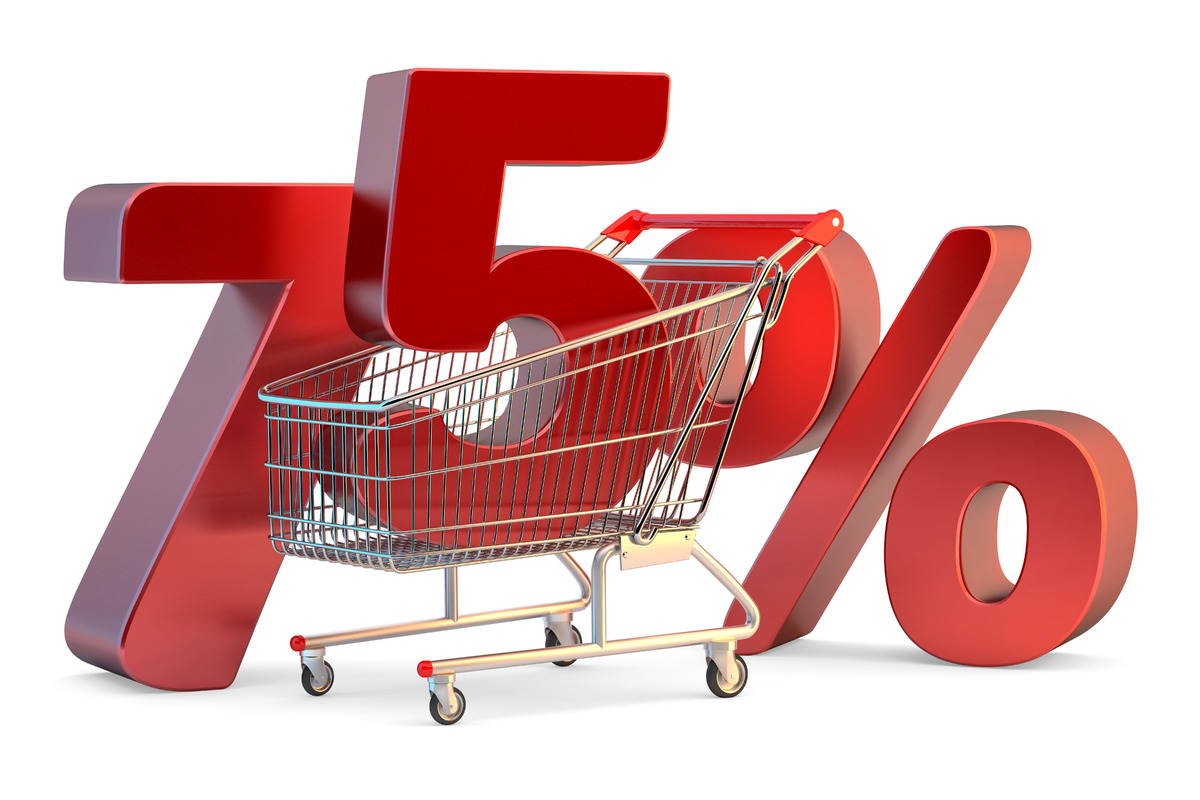 Shopping cart with 75% discount sign. 3D illustration. Isolated. Contains clipping path - slon.pics - free stock photos and illustrations
