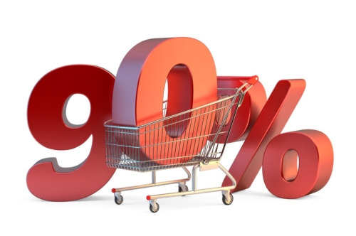Shopping cart with 90% discount sign. 3D illustration. Isolated. Contains clipping path - slon.pics - free stock photos and illustrations