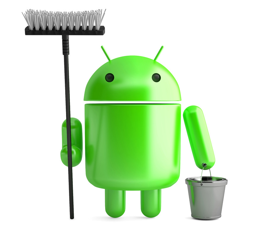 Android Robot. Cleaner with mop and bucket. 3D illustration. Isolated. Contains clipping path - slon.pics - free stock photos and illustrations
