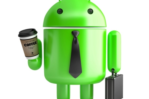 Android with coffee and briefcase. 3D illustration. Isolated. Contains clipping path - slon.pics - free stock photos and illustrations
