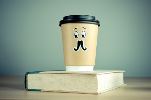 Book and a to-go cup of coffee - slon.pics - free stock photos and illustrations