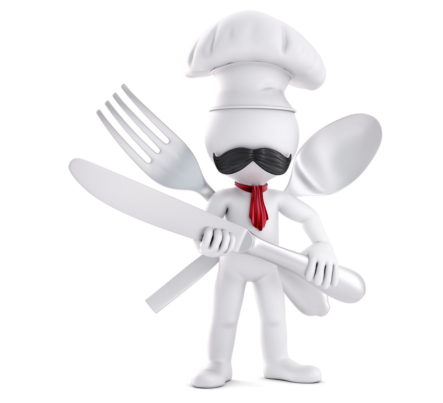 Chef posing with cutlery. 3D illustration. Isolated. Contains clipping path - slon.pics - free stock photos and illustrations