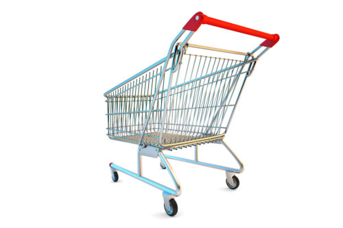 Empty cart. Rear view. 3D illustration. Isolated. Contains clipping path - slon.pics - free stock photos and illustrations