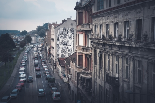 Karadjordjeva street and Belgrade cityscape, View from Brankov bridge. Serbia - slon.pics - free stock photos and illustrations