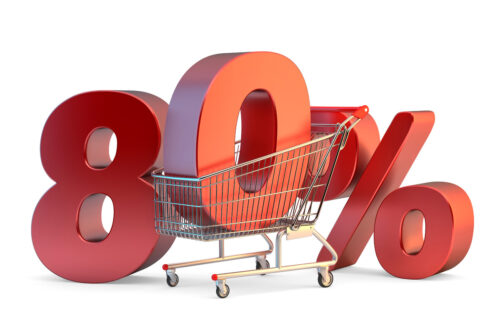 Shopping cart with 80% discount sign. 3D illustration. Isolated. Contains clipping path - slon.pics - free stock photos and illustrations