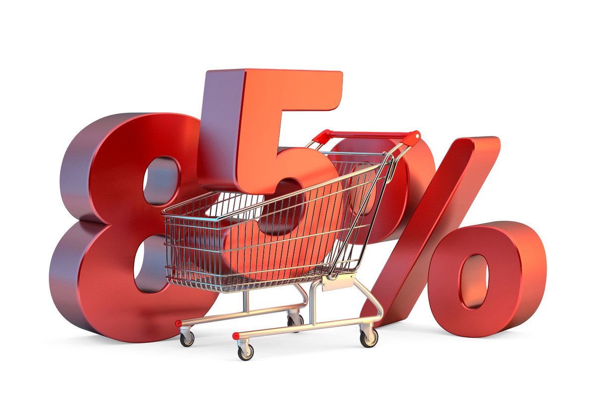 Shopping cart with 85% discount sign. 3D illustration. Isolated. Contains clipping path - slon.pics - free stock photos and illustrations
